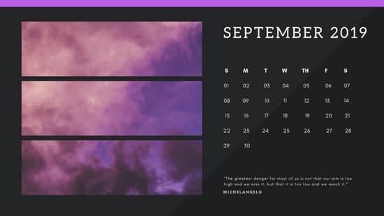 black Photo collage Free October 2019 Calendar Template