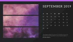 black Photo collage Free September 2019 Calendar Template