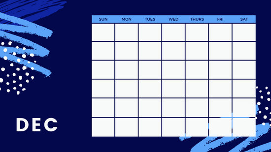 colorful brush strokes Free Weekly Calendar Template December