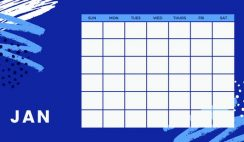 colorful brush strokes Free Weekly Calendar Template January