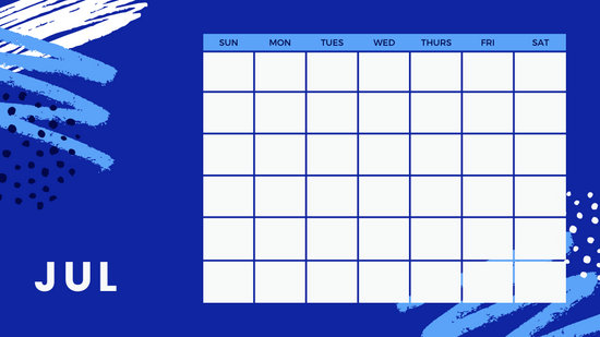 colorful brush strokes Free Weekly Calendar Template July