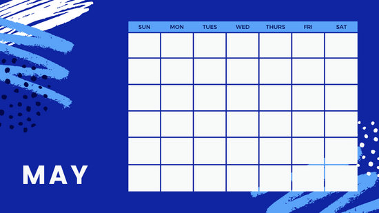 colorful brush strokes Free Weekly Calendar Template May