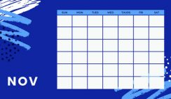 colorful brush strokes Free Weekly Calendar Template November