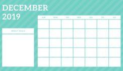 December 2019 Blank Calendar Template rainbow stripes Weekly