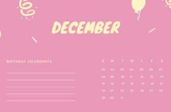 December 2019 Calendar Template colorful balloons confetti cute birthday Calendar