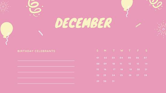 December 2019 Calendar Template colorful balloons confetti cute birthday Calendar