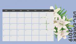 December 2019 Calendar Template multicoloured pastel flowers simple