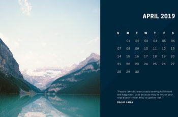 deep colors simple April 2019 Free Photo Calendar Template