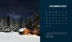 deep colors simple December 2019 Free Photo Calendar Template