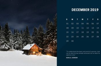 deep colors simple December 2019 Free Photo Calendar Template