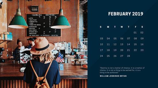deep colors simple February 2019 Free Photo Calendar Template