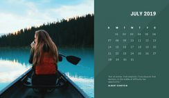 deep colors simple July 2019 Free Photo Calendar Template