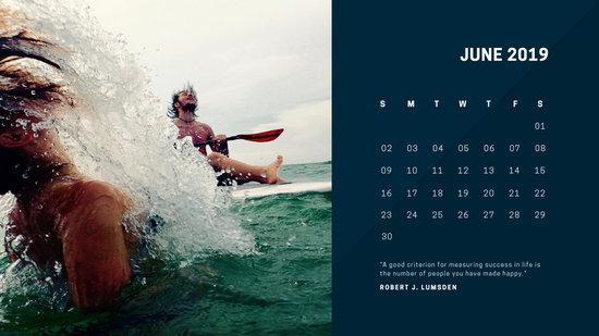 deep colors simple June 2019 Free Photo Calendar Template