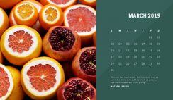 deep colors simple March 2019 Free Photo Calendar Template