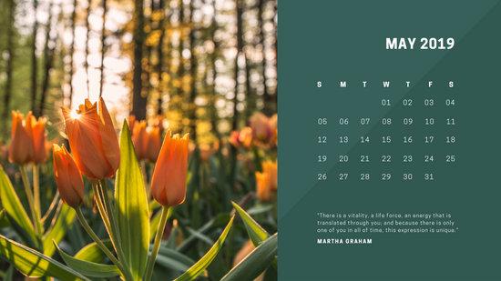 deep colors simple May 2019 Free Photo Calendar Template