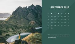 deep colors simple September 2019 Free Photo Calendar Template