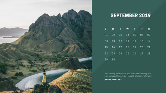 deep colors simple September 2019 Free Photo Calendar Template