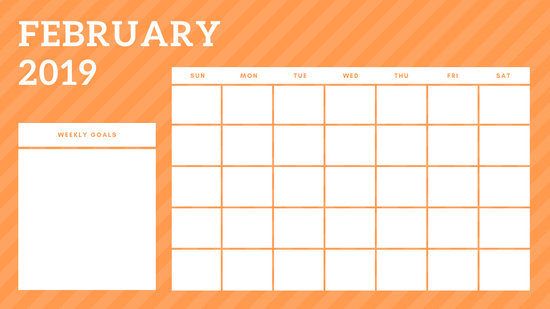 February 2019 Blank Calendar Template rainbow stripes Weekly
