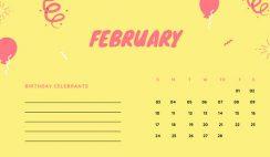 February 2019 Calendar Template colorful balloons confetti cute birthday Calendar