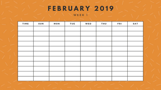 February 2019 Weekly Calendar Template yellow sprinkles and dots