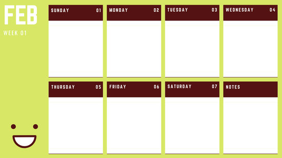 February Weekly Calendar Template colorful illustrated smiley face