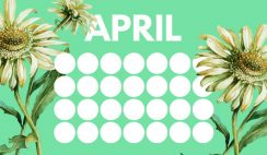 floral rainbow circles Free April Blank Calendar Template