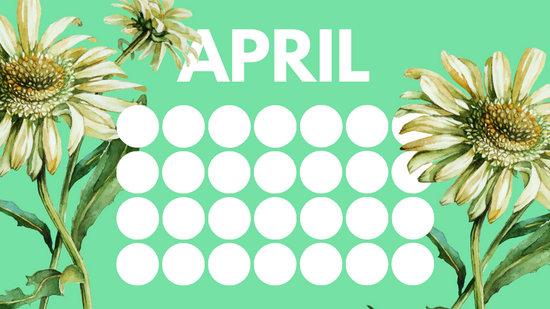 floral rainbow circles Free April Blank Calendar Template