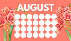 floral rainbow circles Free August Blank Calendar Template