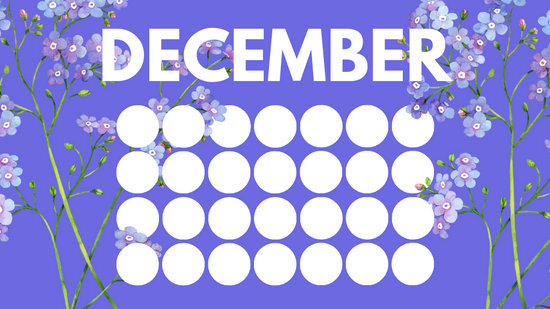 floral rainbow circles Free December Blank Calendar Template