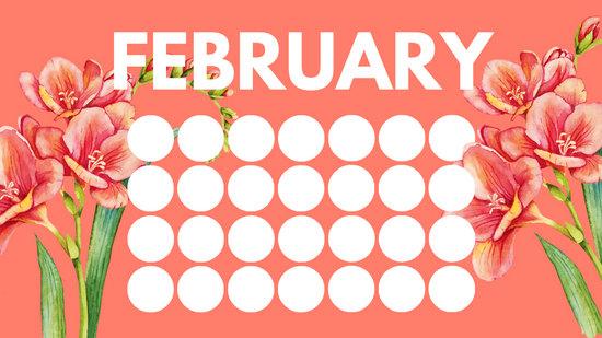floral rainbow circles Free February Blank Calendar Template