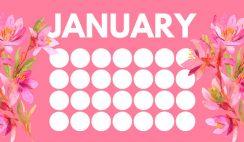 floral rainbow circles Free January Blank Calendar Template