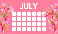 floral rainbow circles Free July Blank Calendar Template