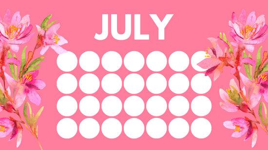 floral rainbow circles Free July Blank Calendar Template