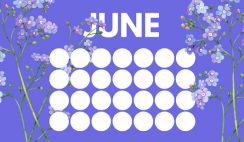 floral rainbow circles Free June Blank Calendar Template