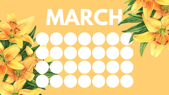 floral rainbow circles Free March Blank Calendar Template