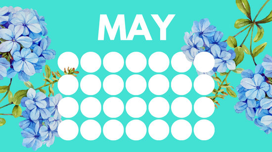 floral rainbow circles Free May Blank Calendar Template