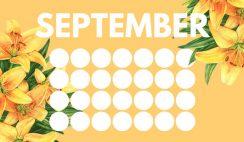 floral rainbow circles Free September Blank Calendar Template