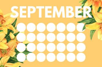 floral rainbow circles Free September Blank Calendar Template