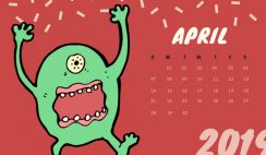 Free Monthly Calendar Template April 2019 colorful cartoon alien