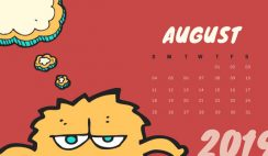 Free Monthly Calendar Template August 2019 colorful cartoon alien
