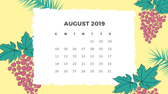 Free Monthly Calendar Template August 2019 green tropical