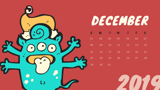 Free Monthly Calendar Template December 2019 colorful cartoon alien