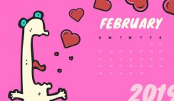 Free Monthly Calendar Template February 2019 colorful cartoon alien