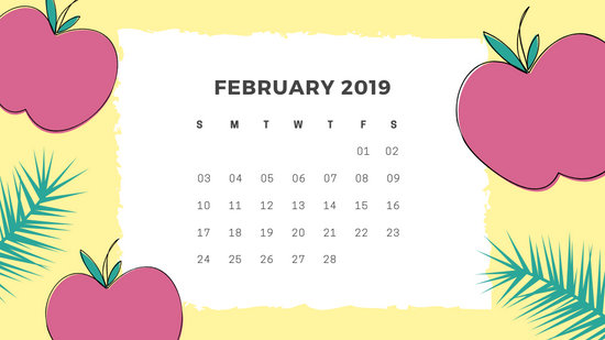 Free Monthly Calendar Template February 2019 green tropical