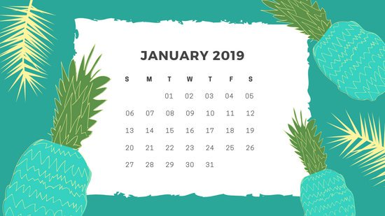 Free Monthly Calendar Template January 2019 green tropical