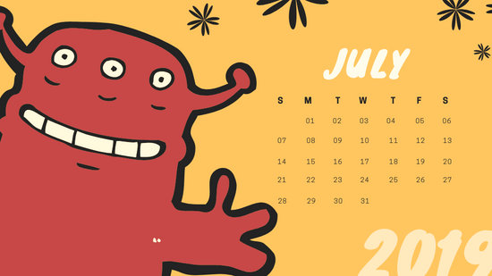 Free Monthly Calendar Template July 2019 colorful cartoon alien