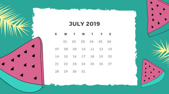 Free Monthly Calendar Template July 2019 green tropical
