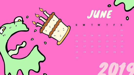 Free Monthly Calendar Template June 2019 colorful cartoon alien