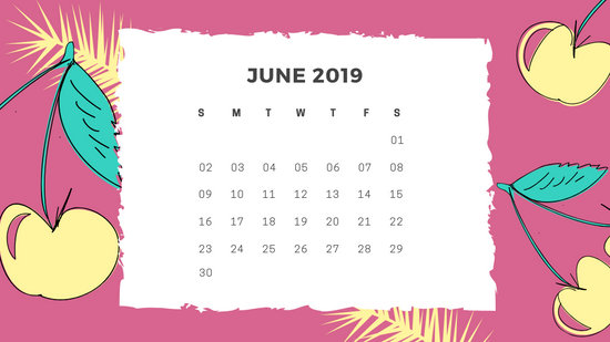 Free Monthly Calendar Template June 2019 green tropical