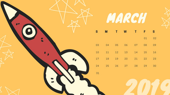 Free Monthly Calendar Template March 2019 colorful cartoon alien